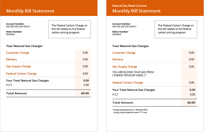 natural gas bill example
